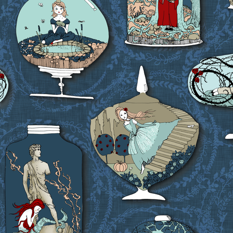 Fairytale Terrariums (in Ink) fabric by nouveau_bohemian on Spoonflower - custom fabric