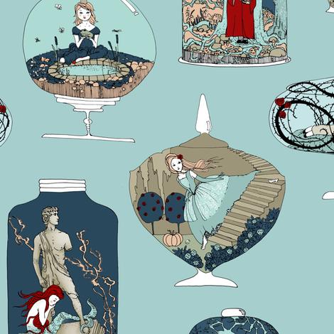 Fairytale Terrariums (in sky blue) fabric by nouveau_bohemian on Spoonflower - custom fabric