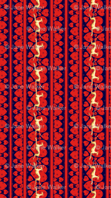 Hearts and Greyhounds, yellow, red, blue