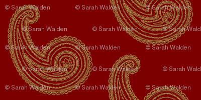 Provence ~ Paisley ~ Embroidered Gold on Claret