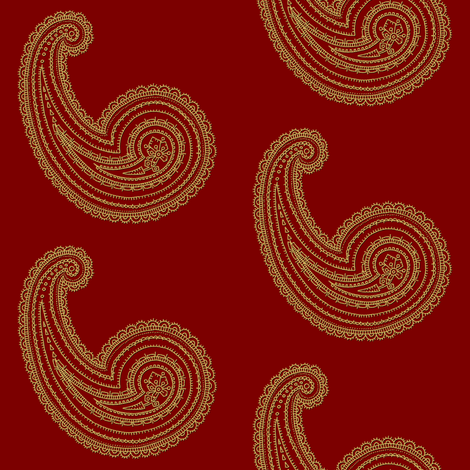 Provence ~ Paisley ~ Embroidered Gold on Claret fabric by peacoquettedesigns on Spoonflower - custom fabric