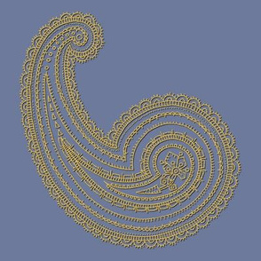 Provence ~ Paisley ~ Embroidered Gold on Chevalier