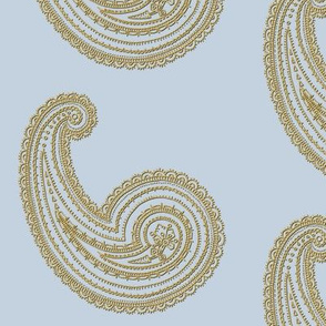 Provence ~ Paisley ~ Embroidered Gold on Versailles Fog
