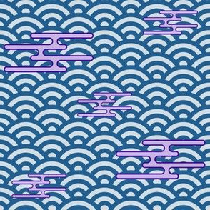 Japanese Clouds on Waves - Blue and Lilac