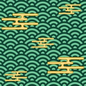 Japanese Clouds on Waves - Green and Gold