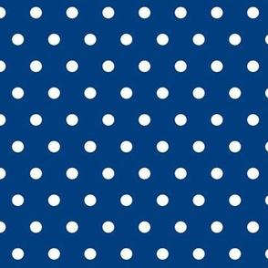 Royal blue and white polka dots