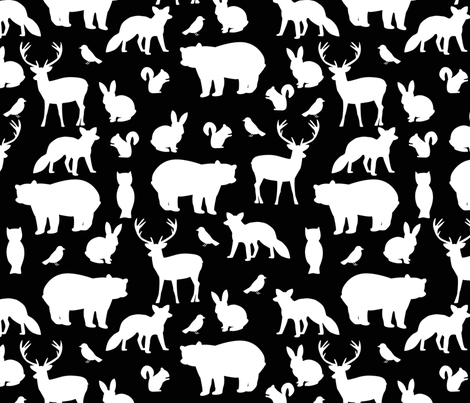 Woodland party on black fabric by mintpeony on Spoonflower - custom fabric
