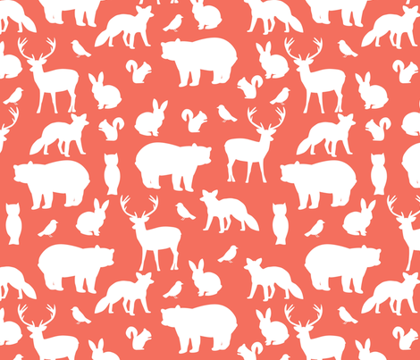 Woodland party on coral fabric by mintpeony on Spoonflower - custom fabric
