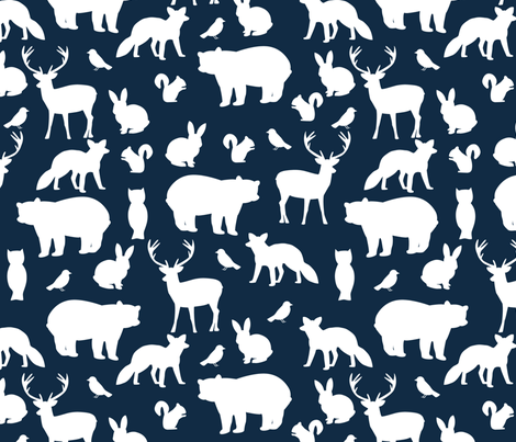Woodland party at midnight fabric by mintpeony on Spoonflower - custom fabric