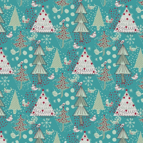 Christmas Birds in the Forest on Aquaw_colours2b-01