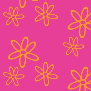 Floral Simplicity - Orange on Pink