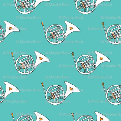 Trumpet doodle jazz illustration horn music pattern