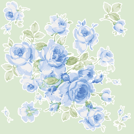 Lake Maria Summer Roses on Basil Green fabric by lilyoake on Spoonflower - custom fabric