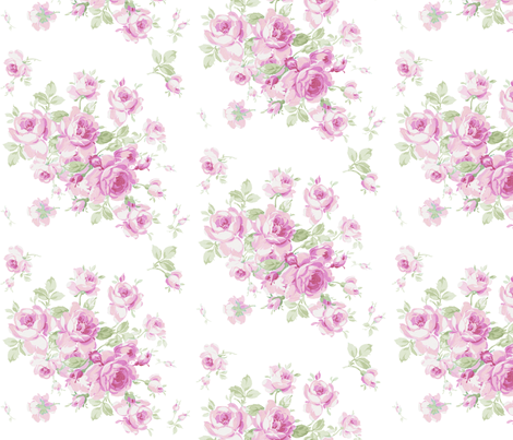 Lake Maria Summer Roses in Sorbet Pink fabric by lilyoake on Spoonflower - custom fabric