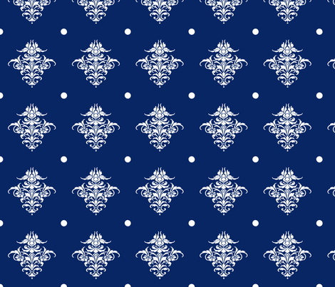 Damask Dot in ink fabric by lilyoake on Spoonflower - custom fabric