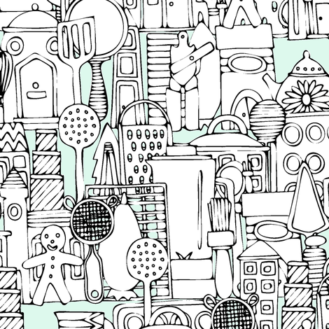 kitchen town fabric by scrummy on Spoonflower - custom fabric