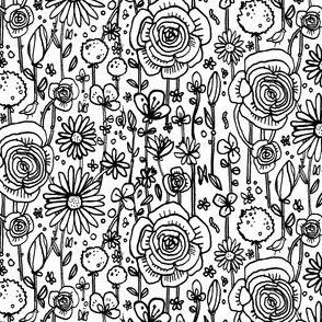 Monochromatic meadow flowers