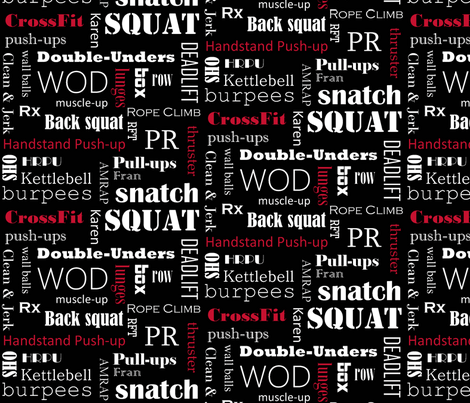 Red on Black Crossfit Subway Art black fabric by noochesfabric on Spoonflower - custom fabric