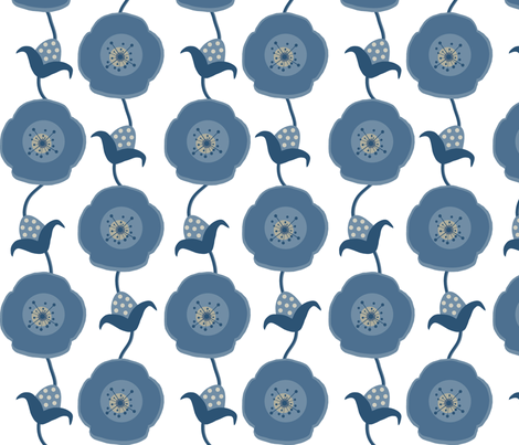 Poppy-Denim fabric by banana&tree on Spoonflower - custom fabric