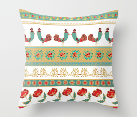 Striped floral decorative pattern