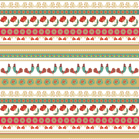 Striped floral decorative pattern fabric by dariara on Spoonflower - custom fabric