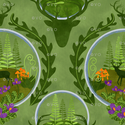 the stag in the terrarium forest