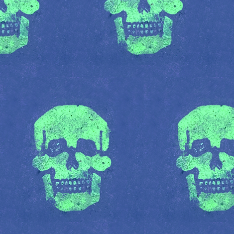 Skull in Sea Foam with Violet background fabric by susaninparis on Spoonflower - custom fabric