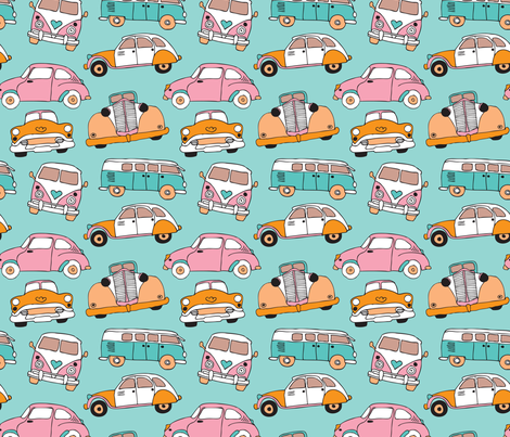 vintage cars for girls illustration pattern wallpaper