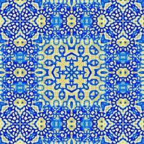 Folk texture in blue