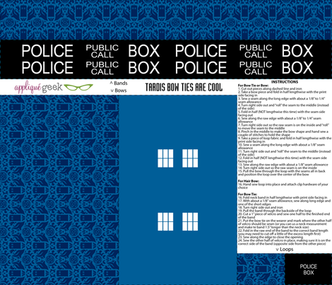 Police Box Inspired Bow or Bow Tie Set fabric by designedbygeeks on Spoonflower - custom fabric