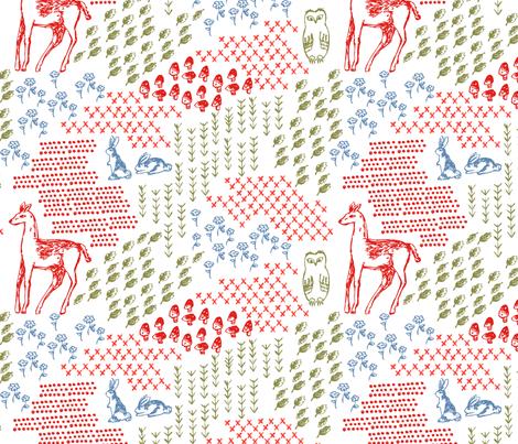 Elements of a Woodland Terrarium fabric by janetdrummond on Spoonflower - custom fabric