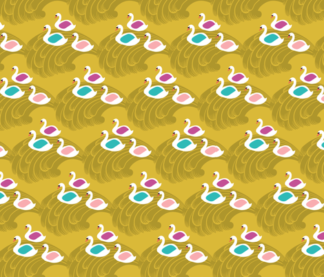 The Magical Swans III fabric by littleoddforest on Spoonflower - custom fabric