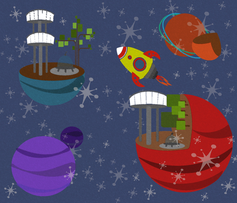 Cosmos-side Attractions fabric by kfrogb on Spoonflower - custom fabric