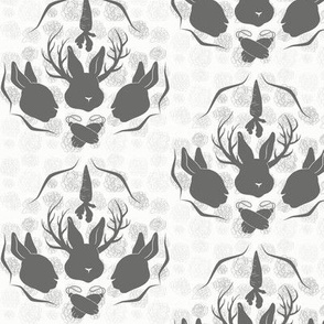 Jackalope and Floral Damask