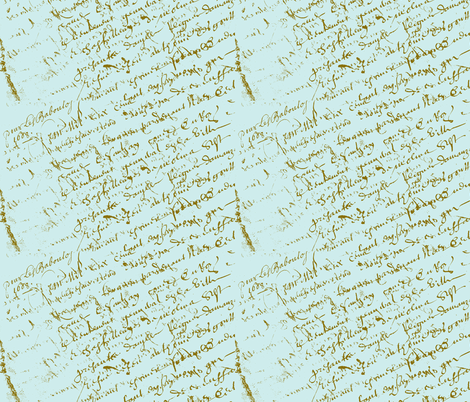 French script Paris blue fabric by karenharveycox on Spoonflower - custom fabric