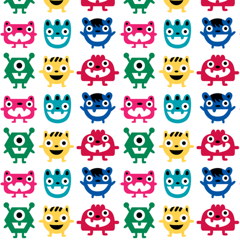 Wee Monsters white fabric by andibird on Spoonflower - custom fabric