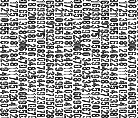 Random Number Generator (Railroaded) || black and white rubber stamp letterpress texture numbers distressed wood type punk emo fabric by pennycandy on Spoonflower - custom fabric