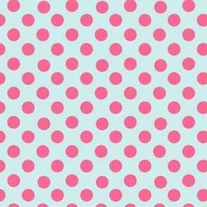 Pink Polka Dots on Paris Blue small