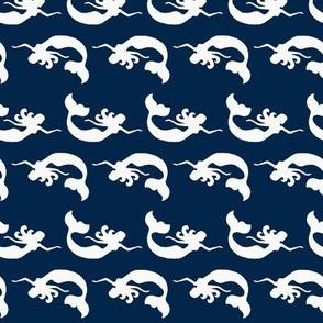 Mermaid Swimming Navy