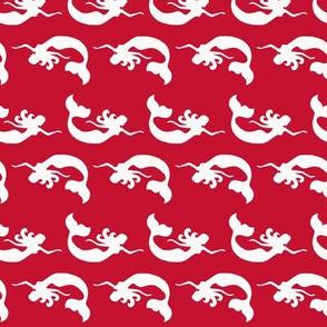Mermaid Swimming Red