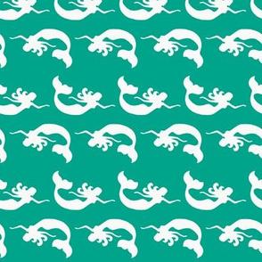 Mermaid Swimming Teal
