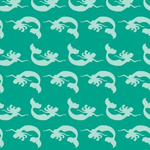 Mermaid Swimming Tonal Teal