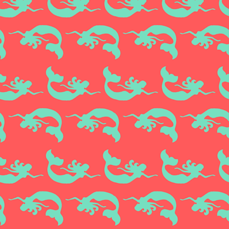 Mermaid Swimming Coral Teal fabric by vintagegreenlimited on Spoonflower - custom fabric