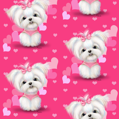 Maltese Pink Hearts fabric by catialee on Spoonflower - custom fabric