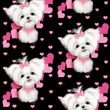Maltese Black and  hearts M fabric by catialee on Spoonflower - custom fabric