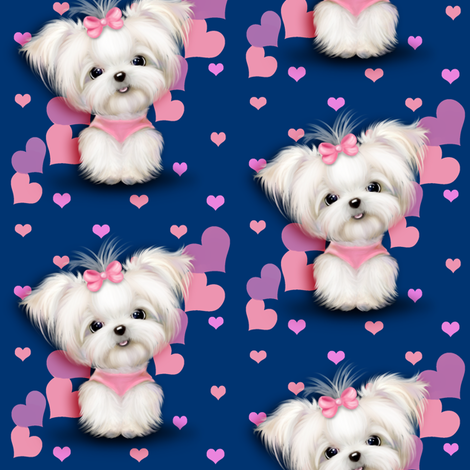 Maltese royalblue and  hearts fabric by catialee on Spoonflower - custom fabric