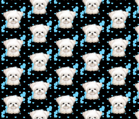 Maltese black and hearts fabric by catialee on Spoonflower - custom fabric