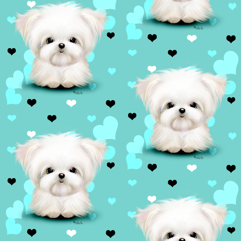 Maltese Aqua blue and  hearts  fabric by catialee on Spoonflower - custom fabric