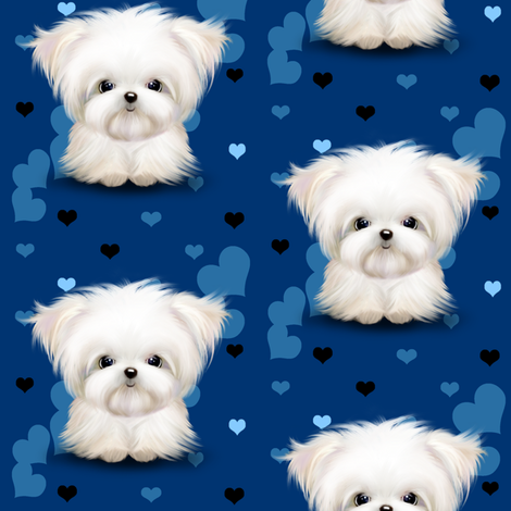 Maltese royal blue and hearts fabric by catialee on Spoonflower - custom fabric