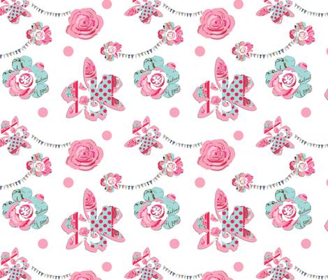 Floral bunting fabric by karenharveycox on Spoonflower - custom fabric
